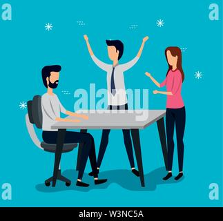 businessmen and businesswoman teamwork with desk and chair - Stock Image