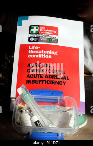 Adrenal Crisis/Coma Acute Adrenal Insufficiency medical kit information leaflet and medication items  UK - Stock Image