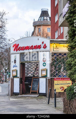 Neumanns bar & Restaurant. Traditional, Typical old bar in Moabit, Berlin. Exterior view - Stock Image