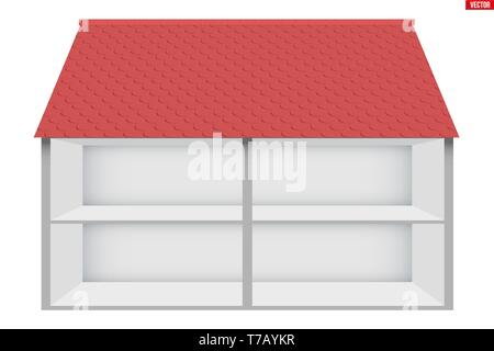 Two-storey house House in section. Sample empty house interior. Planning of interior and communications. Vector Illustration isolated on white backgro - Stock Image