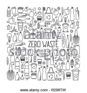 Zero waste concept. Monochrome line art collection of eco and waste elements. - Stock Image