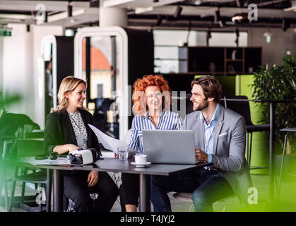 A group of young cheerful business people with laptop sitting in an office, talking. - Stock Image