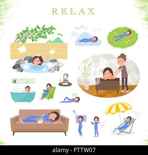 A set of Surgical Doctor women about relaxing.There are actions such as vacation and stress relief.It's vector art so it's easy to edit. - Stock Image