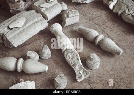 ruin debris on the floor, Mantua, Italy - Stock Image