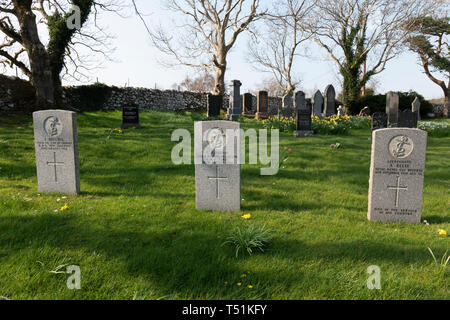 Military graves in the public cemetery at Poolewe, Scotland. - Stock Image