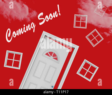 Coming Soon Door Shows Upcoming Real Estate Property Available. Realty Ownership Project Upcoming - 3d Illustration - Stock Image