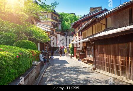 View to small street with Sakura tree in Higashiyama district, Kyoto, Japan - Stock Image