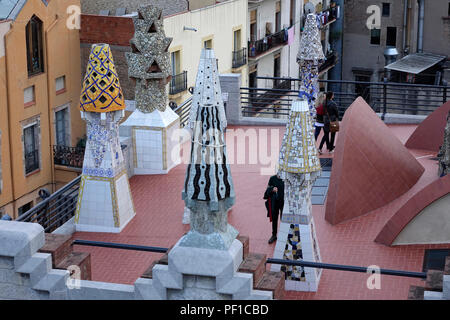 The Palau Guell Museum Rooftop Showing The Decorated Ceramic Chimneys Designed By Antoni Gaudí Barcelona Spain - Stock Image