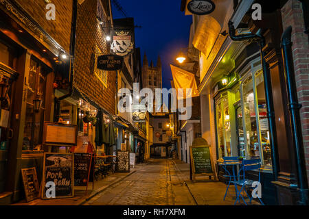 Butchery Lane,Canterbury Cathedral,Night time,Illuminated,Floodlit,Canterbury,Kent,England - Stock Image
