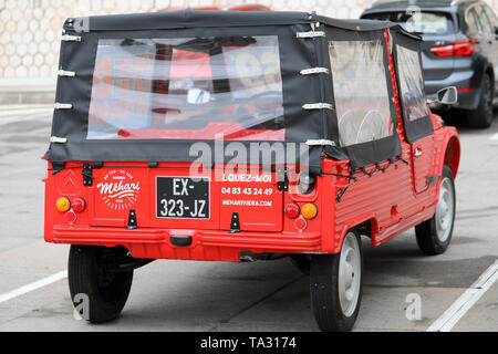 Nice, France - May 21, 2019: Vintage Red Citroen Mehari (Rear View) French Car Parked In A Parking Lot In Nice On The French Riviera - Stock Image