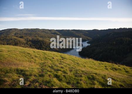 Alpine Lake and grassland Marin County California USA - Stock Image