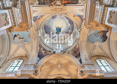CATANIA, ITALY - APRIL 6, 2018: The Assumption of Virgin Mary and four Evangelists in cupola of church Basilica Maria Santissima dell'Elemosina. - Stock Image