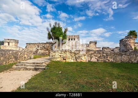 Ancient Mayan Ruins Citadel above Caribbean Sea near City of Tulum Archeological Site on Mexico Yucatan Peninsula - Stock Image
