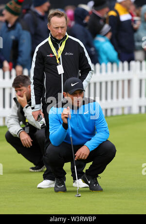 Portrush, Country Antrim, Northern Ireland. 17th July, 2019. The 148th Open Golf Championship, Royal Portrush Golf Club, Practice day; defending Open Champion Francesco Molinari (ITA) with his putting coach Phil Kenyon on the practice green Credit: Action Plus Sports Images/Alamy Live News - Stock Image
