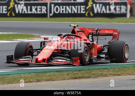 Silverstone Circuit. Northampton, UK. 13th July, 2019. FIA Formula 1 Grand Prix of Britain, Qualification Day; Charles Leclerc driving his Scuderia Ferrari Mission Winnow SF90 takes 3rd on pole Credit: Action Plus Sports/Alamy Live News - Stock Image