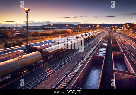 Railway station freight trains, Cargo transport - Stock Image