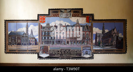 A historic depiction of buildings in Haarlem, the Netherlands. The buildings face onto the Grote Markt (market square). - Stock Image