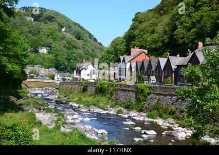 Riverside Walk between into Lynmouth, Devon, UK - Stock Image