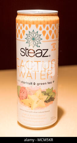 Las Vegas, Nevada, USA - October 2, 2017: Steaz cactus water with starfruit and green tea, refreshing organic beverage in an aluminum can - Stock Image