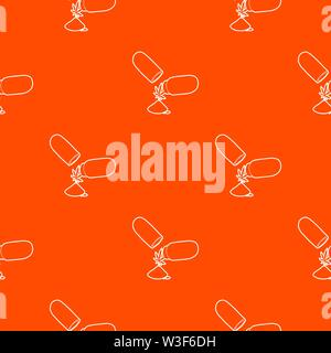 Medical marijuana pill pattern vector orange - Stock Image