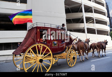 Wells Fargo stagecoach in the Gay Pride parade, Charlotte, North Carolina. - Stock Image