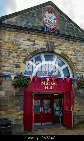 Exterior of the covered market hall in Richmond North Yorkshire, built in 1854 - Stock Image