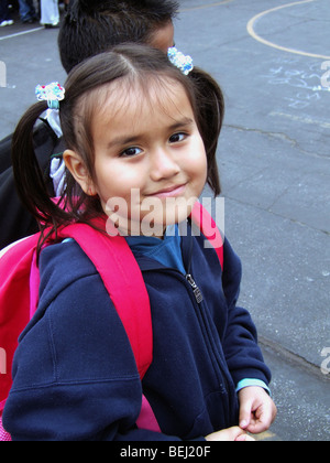 Female student wearing backpack - Stock Image