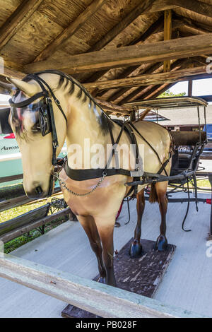 AURORA, KY, USA-30 JUNE 18: A fiull-sized model of a horse, pulling an open carriage--a 'surry with a fringe on top', sets in front of a craft shop. - Stock Image