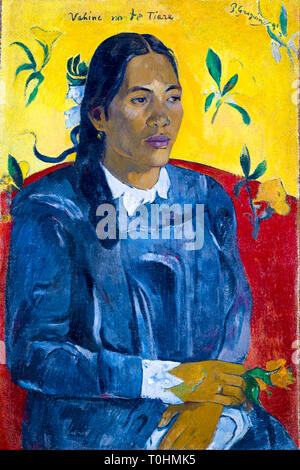 Paul Gauguin, Tahitian Woman with a Flower, portrait painting, 1891 - Stock Image