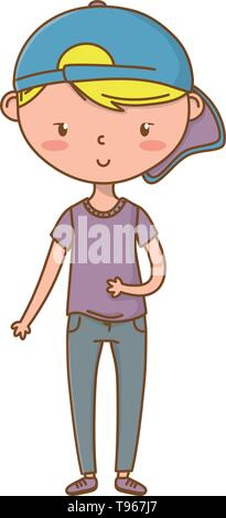 Stylish boy blushing cartoon outfit jeans tshirt backwards cap  isolated vector illustration graphic design - Stock Image