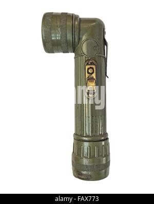 vintage military style flashlight isolated over white background - Stock Image