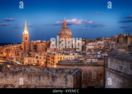 Valletta, Malta: aerial view from city walls. The cathedral - Stock Image