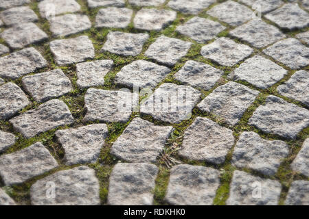 Closeup detail of cobblestone pavement in Dusseldorf, Germany. - Stock Image