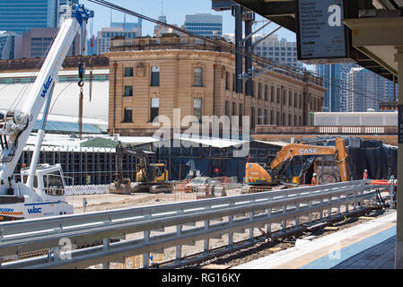 January 2019: Earth works and construction at Sydney's Central Railway Station in preparation for the new Metro rail line from north west Sydney - Stock Image