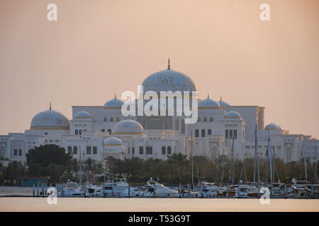 Evening View of Presidential Palace, also known as Qasr al Watan, Abu Dhabi, UAE - Stock Image