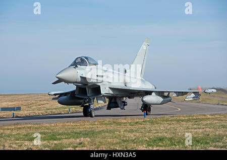 UK's RAF Eurofighter Typhoon FRG4 jets on 'Joint Warrior exercise 2017 at RAF Lossioeouth, Morayshire. Scotland. - Stock Image