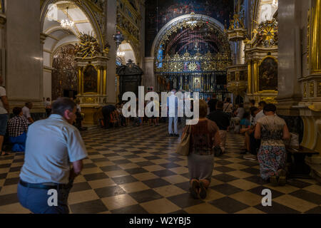 Inside the chapel where the icon of the Black Madonna of Czestochowa is shown, Poland 2018. - Stock Image