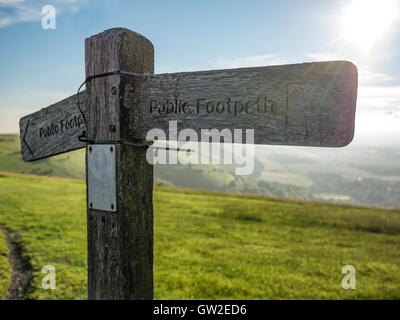 Sign Post at Devil's Dyke, Sussex, South Downs Way, Brighton, England - Stock Image