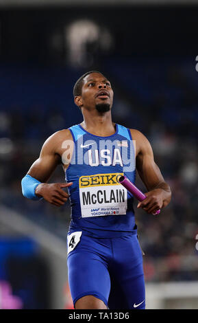 YOKOHAMA, JAPAN - MAY 12: Remontay McClain of the USA anchors his team home in the mens 4x200m final during Day 2 of the 2019 IAAF World Relay Championships at the Nissan Stadium on Sunday May 12, 2019 in Yokohama, Japan. (Photo by Roger Sedres for the IAAF) - Stock Image