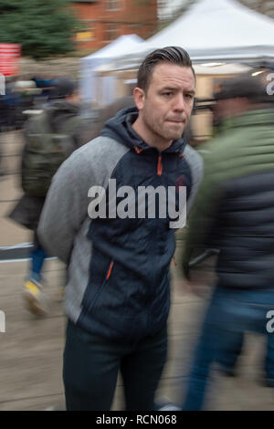 London, United Kingdom. 15 January 2019. Far-right figure Danny Tommo (real name Daniel Thomas) pictured by College Green in Westminster shortly before being arrested. Credit: Peter Manning/Alamy Live News - Stock Image