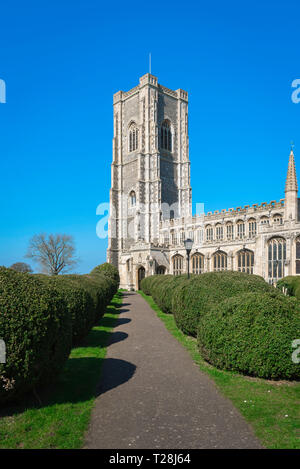Lavenham Church, view of the 43m tower of the late medieval (1525) Church of St Peter & St Paul in the Suffolk village of Lavenham, England, UK. - Stock Image