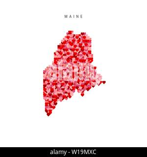 I Love Maine. Red and Pink Hearts Pattern Vector Map of Maine Isolated on White Background. - Stock Image