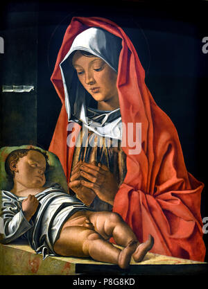Francesco Bonsignori (around 1460-1519), Madonna and Child, 1483, oil on board  Italy, Italian. - Stock Image