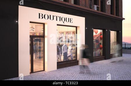 fashion boutique storefront mockup 3d rendering - Stock Image