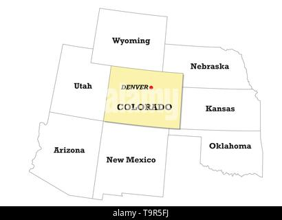 Colorado state map with neighboring states - Stock Image