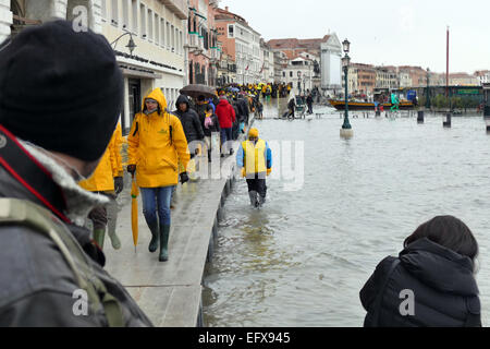 Venice, 6 February 2015. After heavy rain and strong wind, the water level rose by over 1 meter. Piazza San Marco - Stock Image