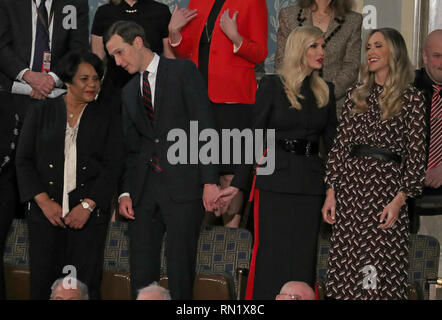 February 5, 2019 - Washington, District of Columbia, U.S. - Senior Advisor Jared Kushner, second left, converses with Alice Johnson, left, who had been serving a mandatory life sentence without parole for charges associated with a nonviolent drug case, as he holds hands with his wife First Daughter and Advisor to the President Ivanka Trump, second left, who is in conversation with Lara Trump, right, prior to United States President Donald J. Trump delivering his second annual State of the Union Address to a joint session of the US Congress in the US Capitol in Washington, DC on Tuesday, Februa - Stock Image
