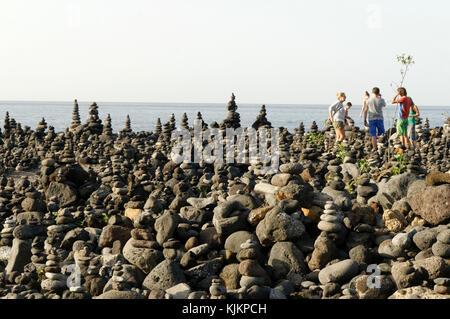 cairns cairn playa jardin puerto de la cruz  tenerife canaries canary islands - Stock Image