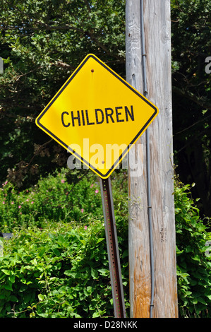 Street sign for drivers to watch for children - Stock Image