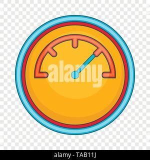 Yellow speedometer icon, cartoon style - Stock Image